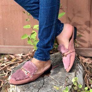 Shoes - MAUVE VEGAN TRENDY FUR SLIP On Mule FLATS